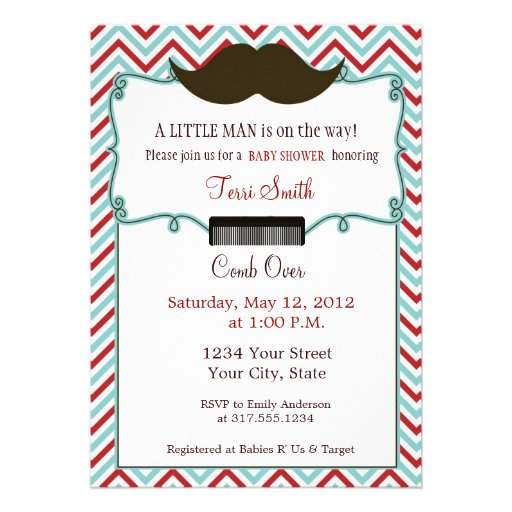 Mustache Baby Shower Invitation for Little Man 5quot; X 7quot; Invitation C