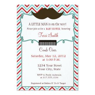 Mustache Baby Shower Invitation for Little Man