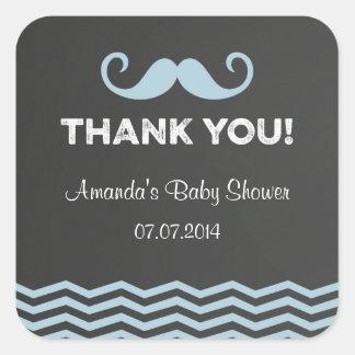 Mustache Baby Shower Thank You Stickers Chalkboard