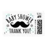Mustache baby shower thank you thanks aqua blue postage stamp