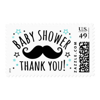 Mustache baby shower thank you thanks aqua blue stamps