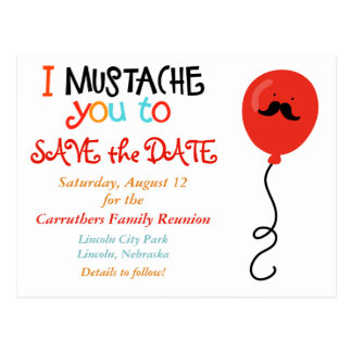 Mustache Balloon Family Reunion Save the Date Postcard