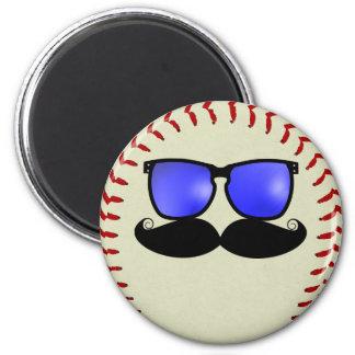 Mustache Baseball Magnet