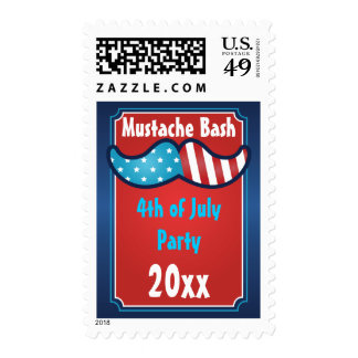 Mustache Bash 4th of July Party Postage Stamps