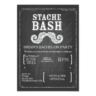 Mustache Bash Bachelor Party Chalkboard Hipster Card