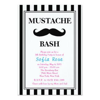 "Mustache Bash Birthday Invitation 5"" X 7"" Invitation Card"