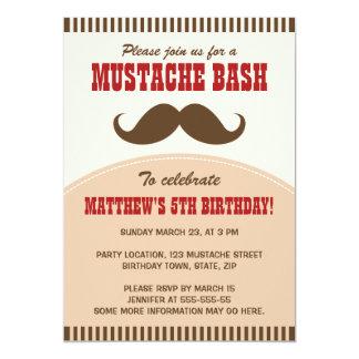 "Mustache bash birthday party invitation 5"" x 7"" invitation card"