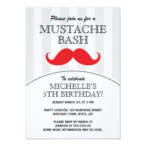 Mustache bash birthday party invitation | Zazzle