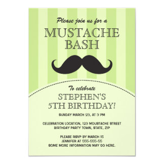 "Mustache bash birthday party invitation, green 4.5"" x 6.25"" invitation card"