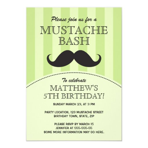 Mustache bash birthday party invitation, green 5x7 paper invitation card