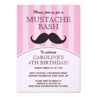 Mustache bash birthday party invitation, pink card