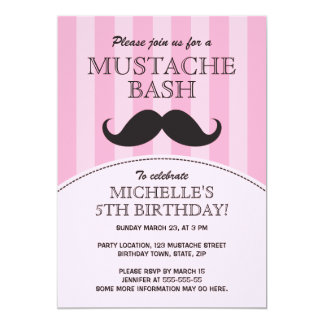 Mustache bash birthday party invitation, pink card
