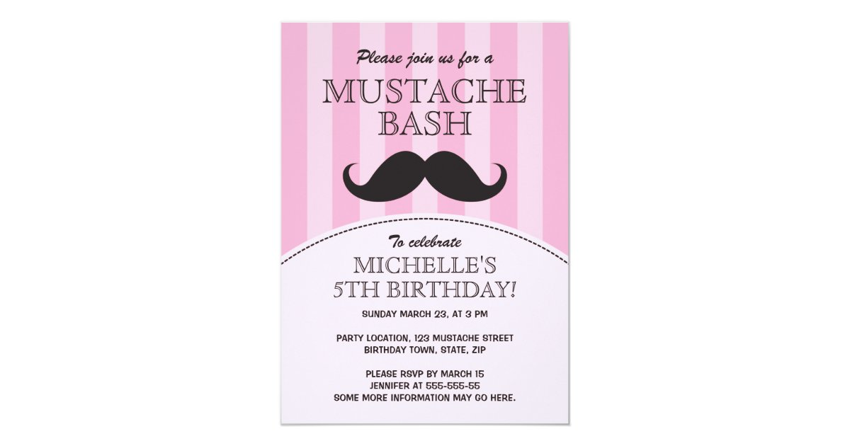 Mustache bash birthday party invitation, pink card | Zazzle.com