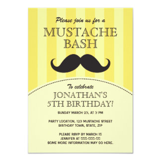 Mustache bash birthday party invitation, yellow card