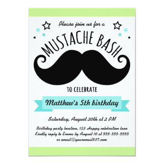 Mustache bash birthday party lime green aqua blue card