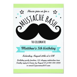 Mustache bash birthday party lime green aqua blue 4.5x6.25 paper invitation card