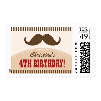 Mustache bash birthday party postage stamps
