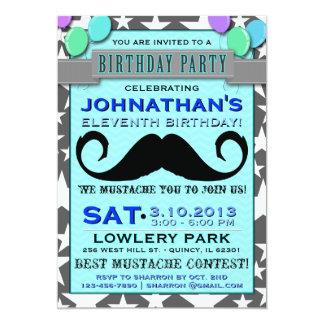 """Mustache Bash Chevron Birthday Party Invitation 5"""" X 7"""" Invitation Card"""