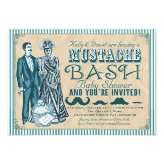 Mustache Bash Couples Baby Shower - Blue and White Card