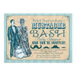 Mustache Bash Couples Baby Shower - Blue and White Announcements