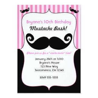 "Mustache Bash Girls Pink White Black Invitations 5"" X 7"" Invitation Card"