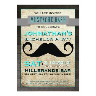 "Mustache Bash Hipster Bachelor Party Invitation 5"" X 7"" Invitation Card"
