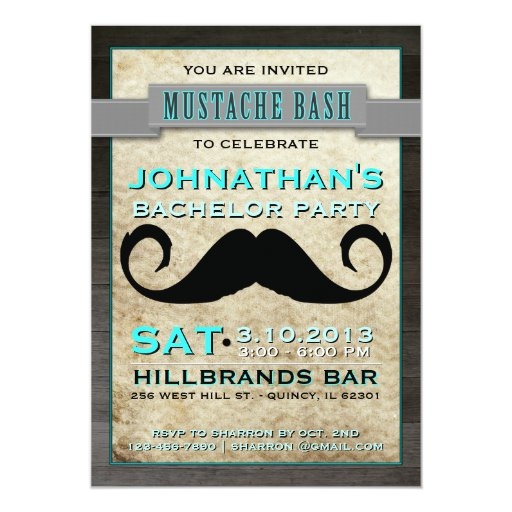 Mustache Bash Hipster Bachelor Party Invitation