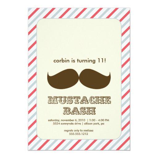 """mustache bash invitation 5"""" x 7"""" invitation card"""