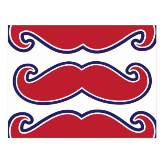Mustache Bash - Red, White and Blue Postcard