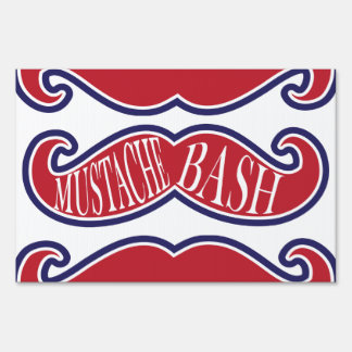 Mustache Bash - Red, White and Blue Signs
