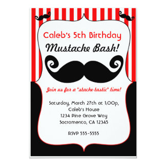 """Mustache Bash Red White Black Striped Invitation 5"""" X 7"""" Invitation Card"""