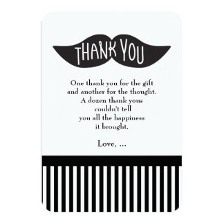 Mustache Bash Striped Modern Thank You Card