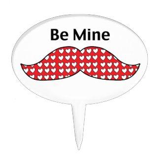 Mustache Be Mine Valentine Cake Picks