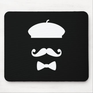 Mustache & Beret Pictogram Mousepad