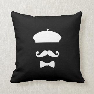 Mustache & Beret Pictogram Throw Pillow