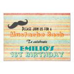 """Mustache Birthday Bash Invite 5"""" X 7"""" Invitation Card"""