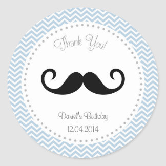 Mustache Birthday Sticker Blue Chevron