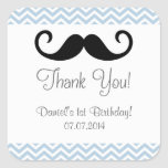 Mustache Birthday Thank You Stickers