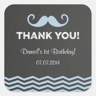 Mustache Birthday Thank You Stickers Chalkboard