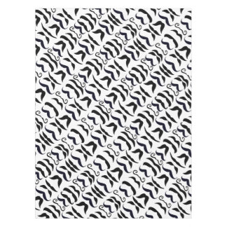 Mustache Black and White Hipster Tablecloth