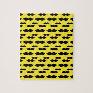 Mustache, Black Handlebar on Yellow Background Puzzles