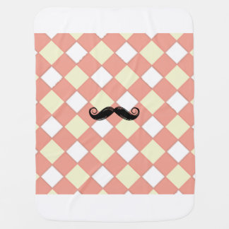 Mustache Blanket Receiving Blankets