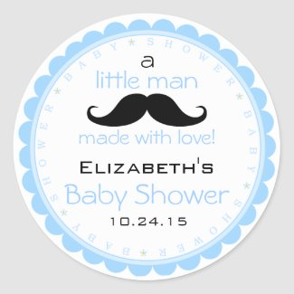Mustache Blue Baby Shower