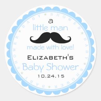 Mustache Blue Baby Shower Classic Round Sticker