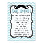 Mustache Blue Chevron Baby Shower Invite