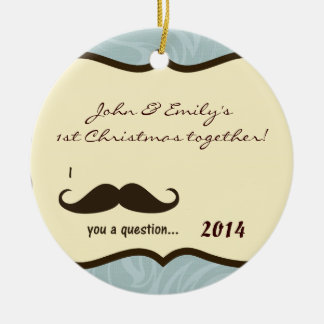 Mustache Blue Damask Personalized Name Ornament