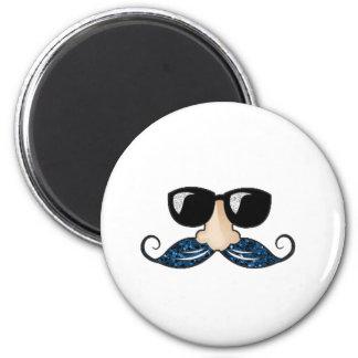 Mustache blue glitter glasses 2 inch round magnet