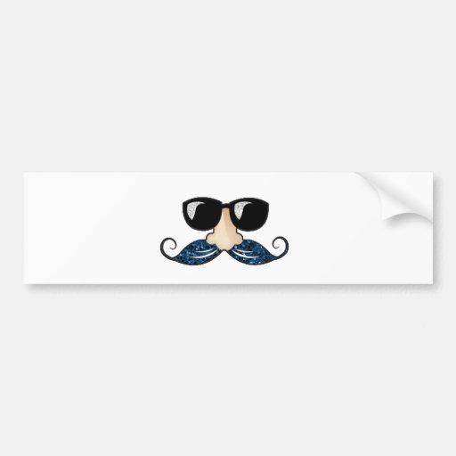 Mustache blue glitter glasses bumper stickers
