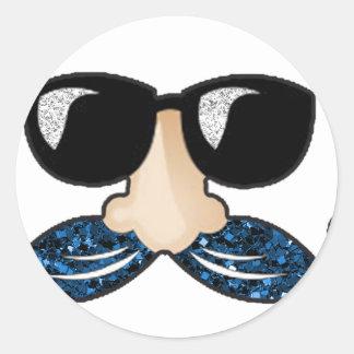 Mustache blue glitter glasses classic round sticker