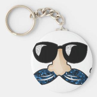 Mustache blue glitter glasses keychain